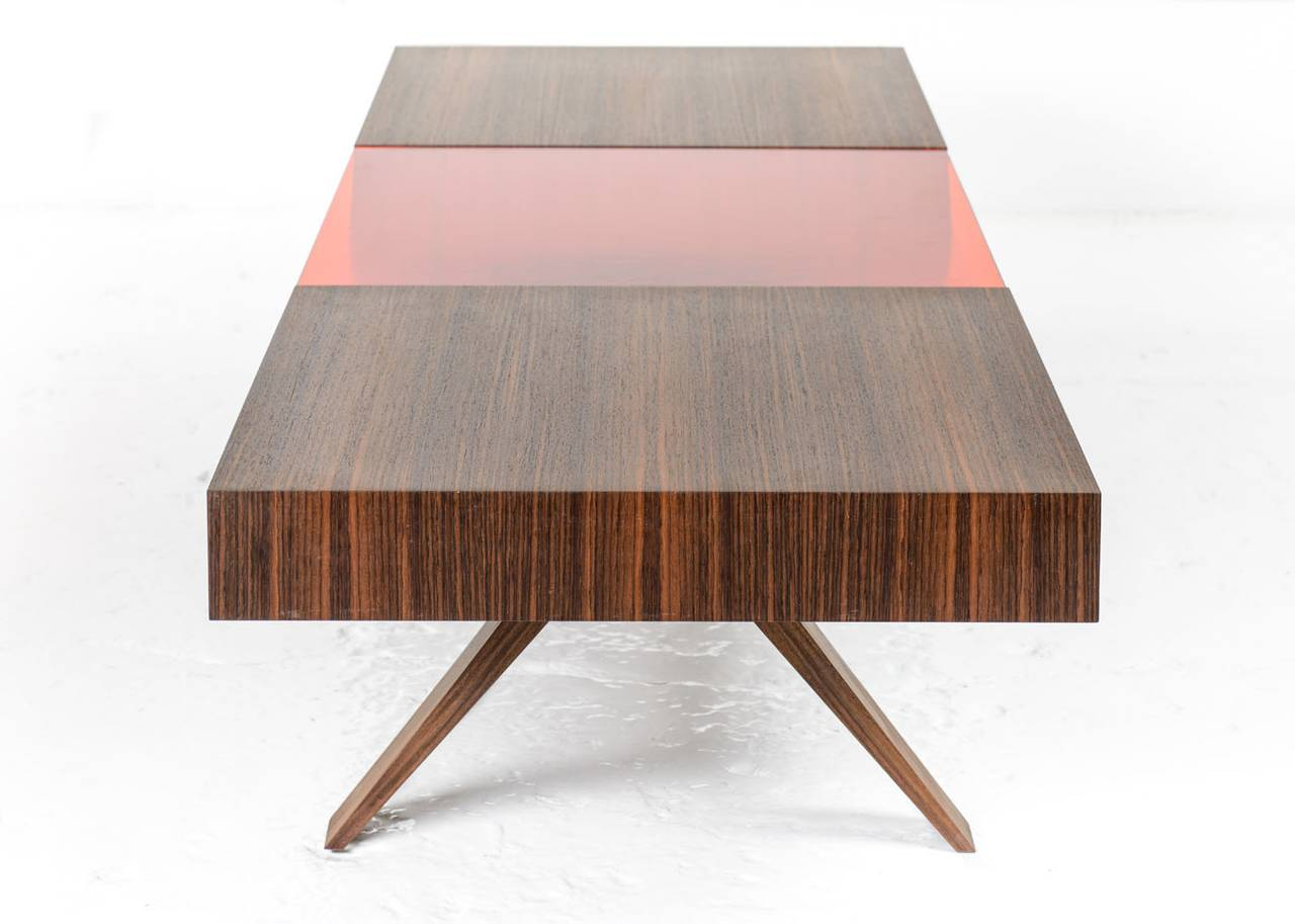 American gilroy coffee table with santos and colored italian glass top bronze interior for sale