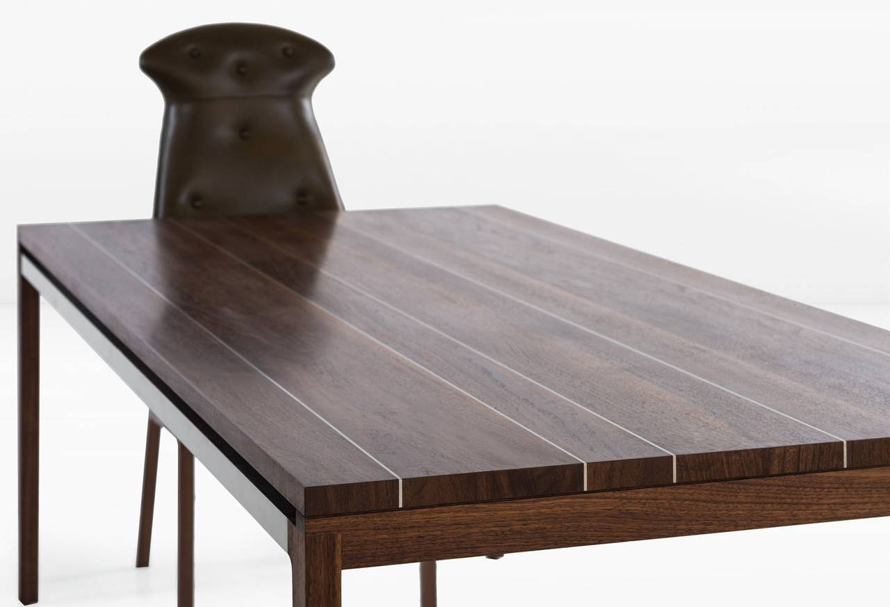 Joe Dining Table With Walnut Plank Top With Stainless Steel Inlay Stripe 3
