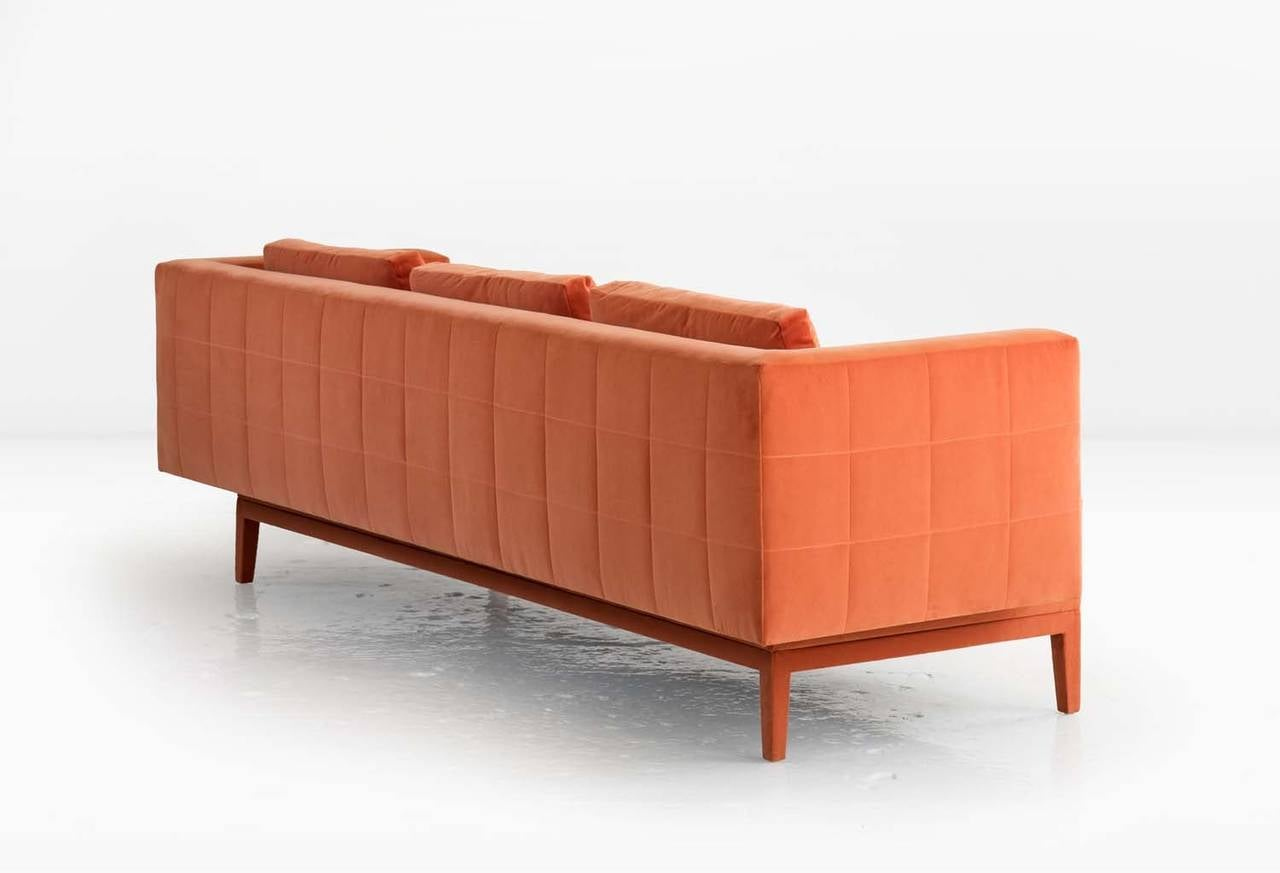 Modern Liston Sofa with Quilted Back and Sides in Orange French Velvet For Sale