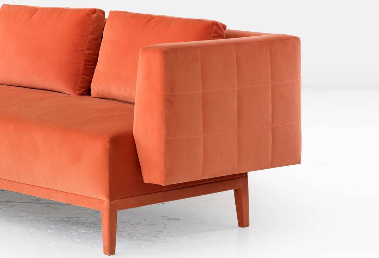 American Liston Sofa with Quilted Back and Sides in Orange French Velvet For Sale