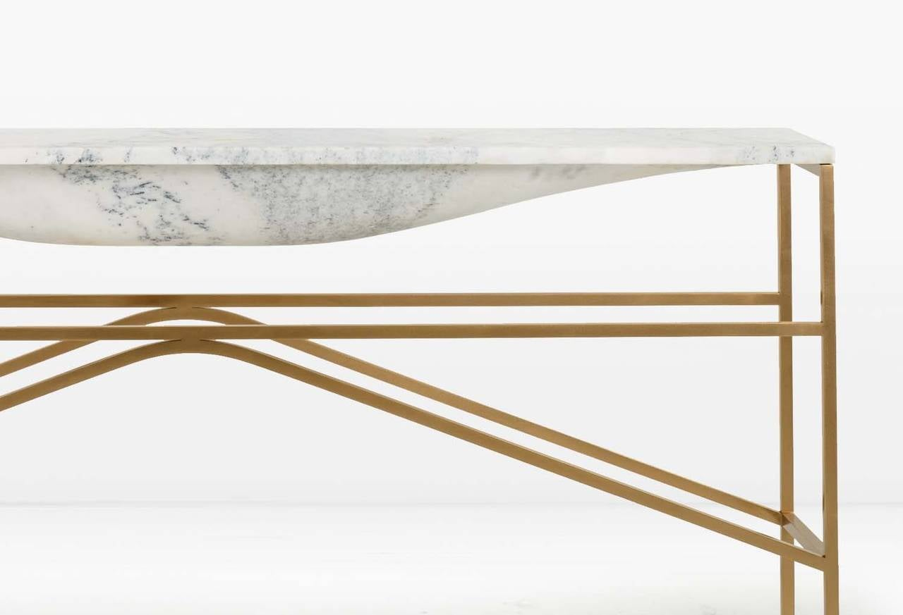 Modern Overlin Console or Sofa Table in Solid Hewn Marble with Silicon Bronze Base For Sale