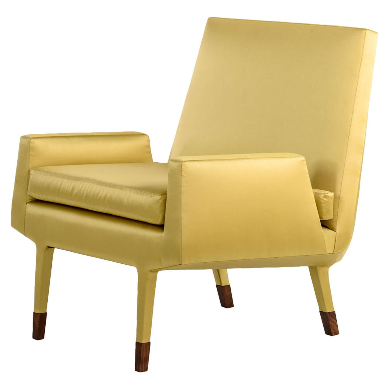 Angott Club Chair or Armchair with Walnut Sabot in Gold Silk and Cotton Satin  For Sale