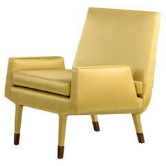 Angott Club Chair or Armchair with Walnut Sabot in Gold Silk and Cotton Satin