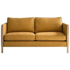 Armstrong Settee or Loveseat with Brass Frame, Down-Filled Herringbone Linen