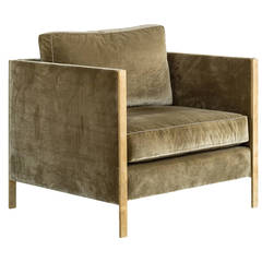 Armstrong Armchair or Club Chair with Down-Filled Silk Velvet, Solid Brass Frame