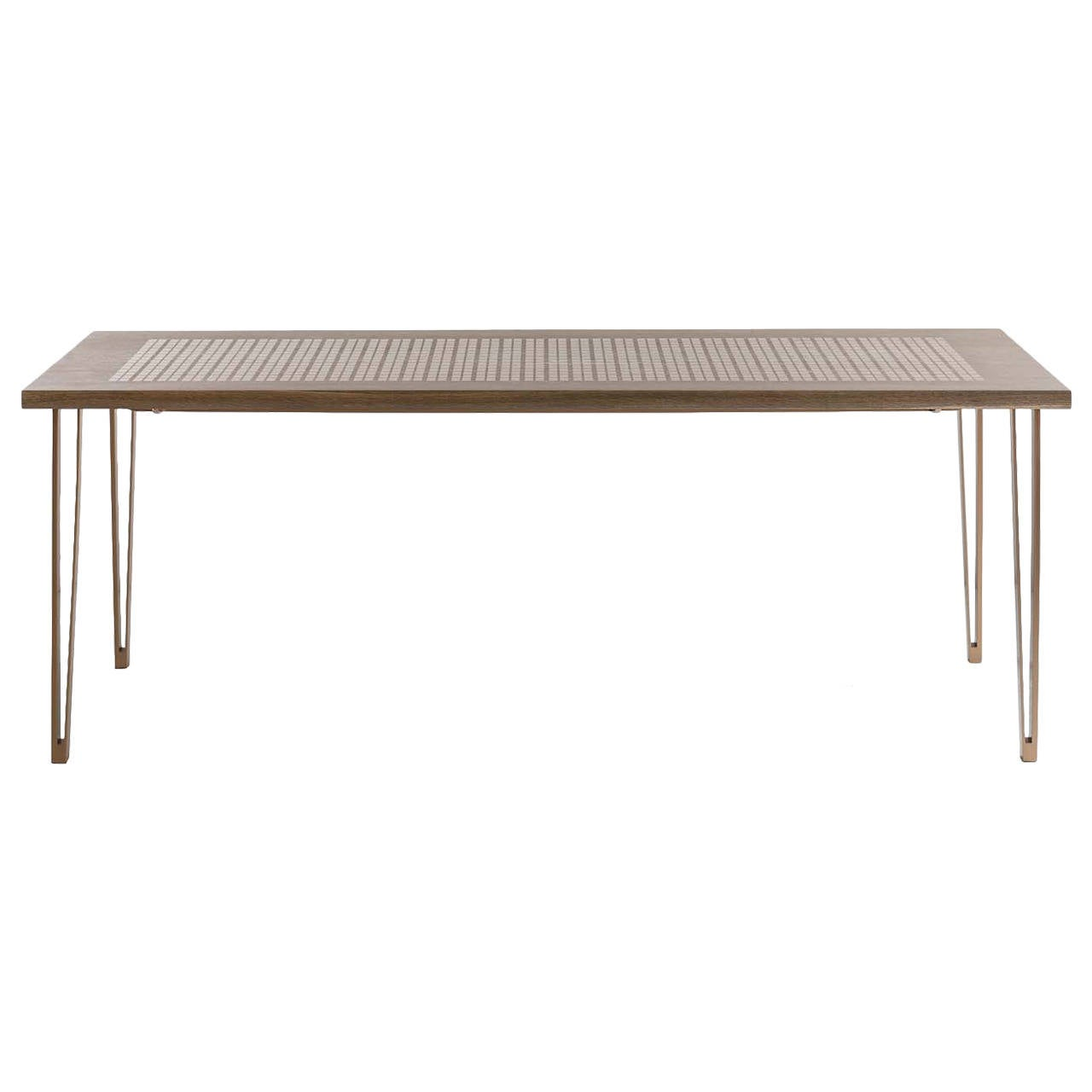 Baer Table with Marquetry, Fumed White Oak, Silicon Bronze Inlay and Base For Sale