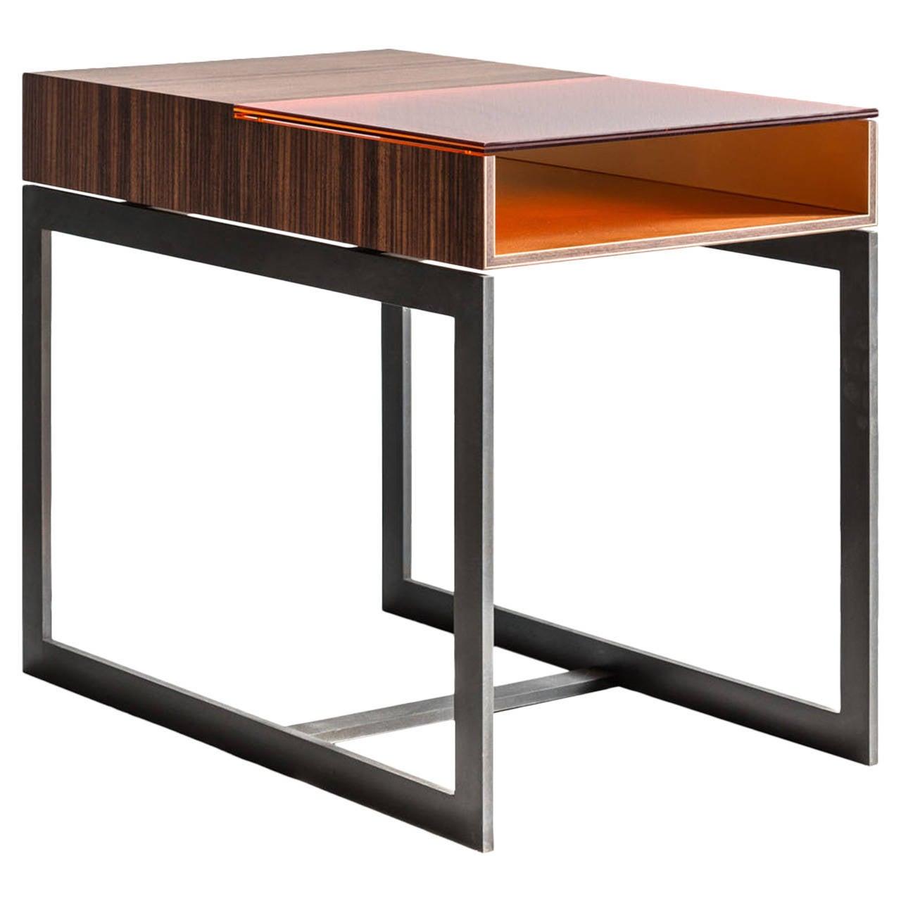Booker Side Table in Santos Veneer, Colored Glass, Bronze Interior, Steel Base For Sale