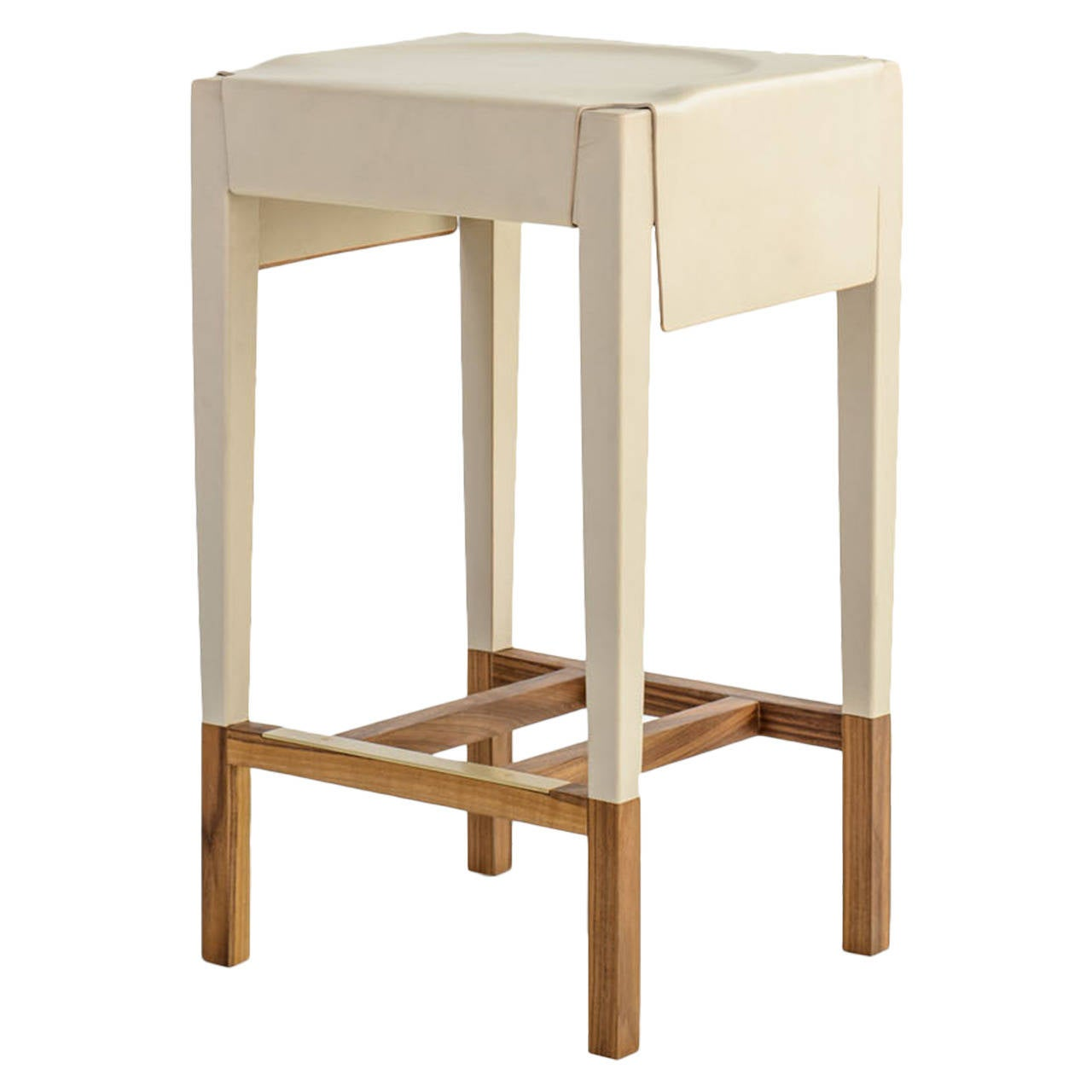 Cassius Barstool with Cream Molded Leather, Solid Walnut Frame, Brass Footrest For Sale