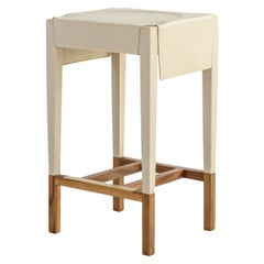 Cassius Barstool with Cream Molded Leather, Solid Walnut Frame, Brass Footrest