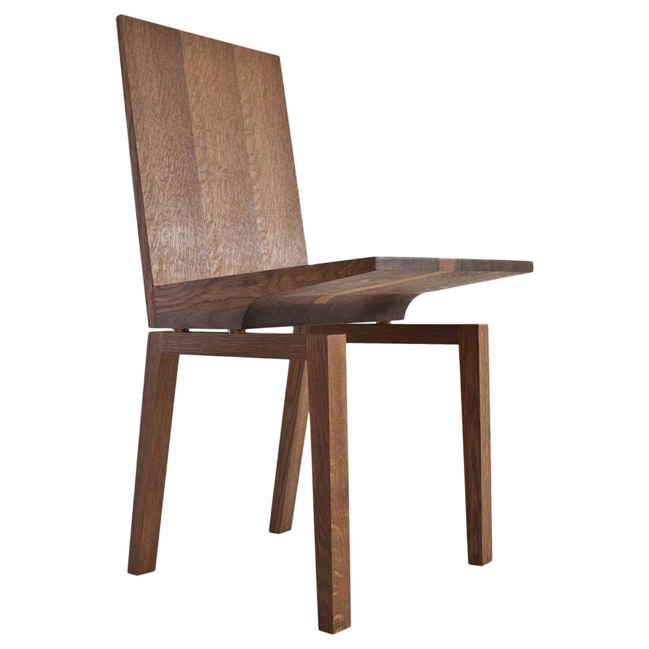 Corbett Dining Chair in Solid White Oak with Bronze Standoffs