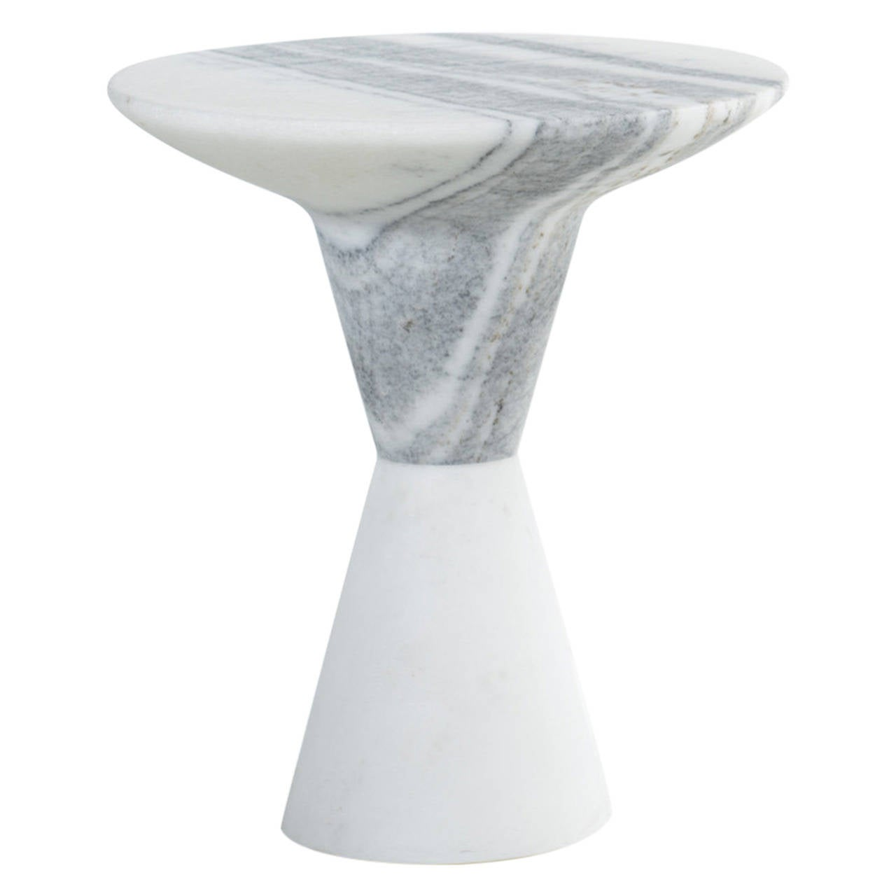 DeMarco Side Table or End Table in Solid Hewn White Marble