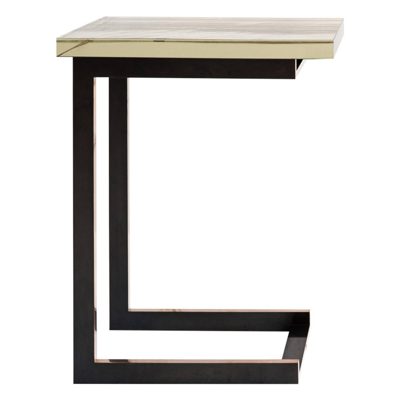 Dempsey Side Table with Mirrored Borosilicate Glass Top and Bronze Base For Sale