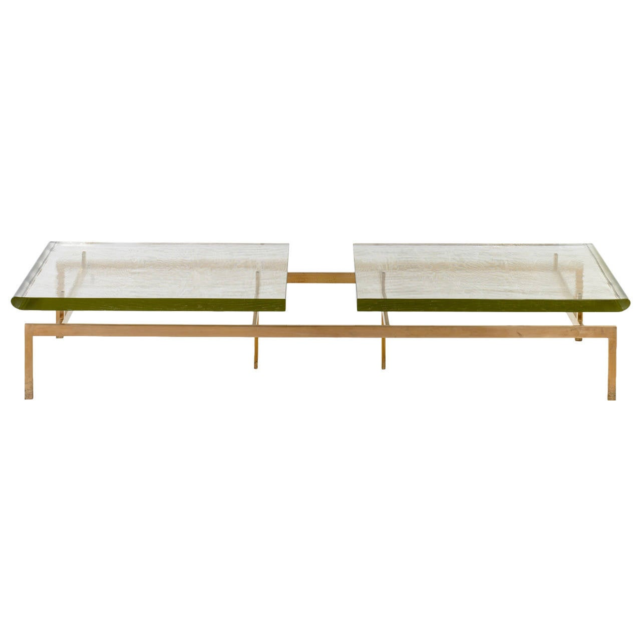 Duran Coffee Table with Thick Borosilicate Glass Top and Silicon Bronze Base