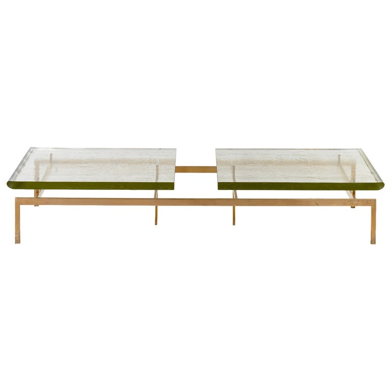 Duran Coffee Table With Thick Borosilicate Glass Top And Silicon Bronze Base For Sale At 1stdibs