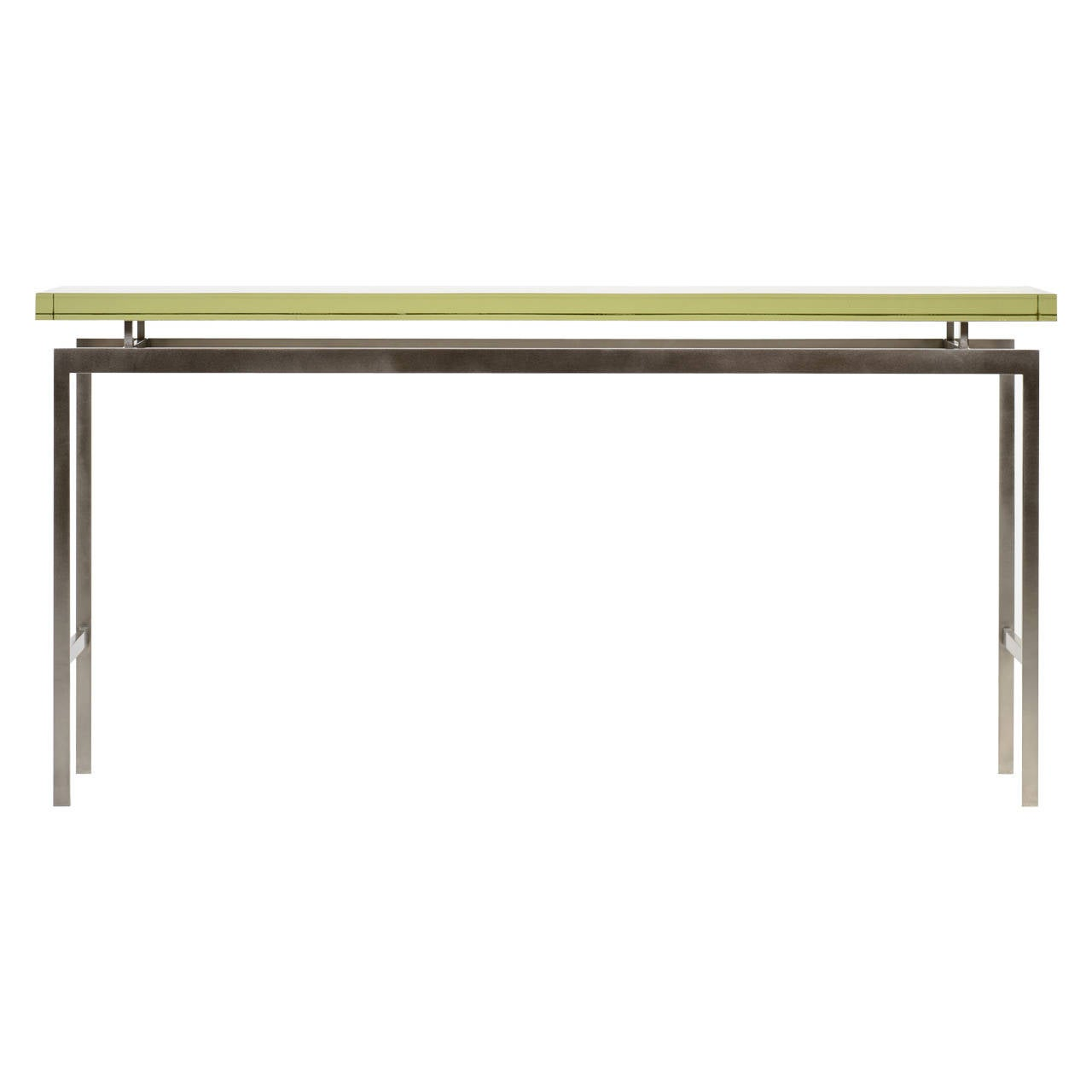 Duran Console or Sofa Table with Thick Mirrored Pyrex Glass Top and Nickel Base