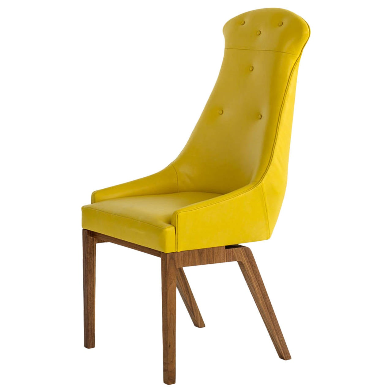 evander dining chair in yellow wool bouclé or leather with solid  - evander dining chair in yellow wool bouclé or leather with solid walnutbase