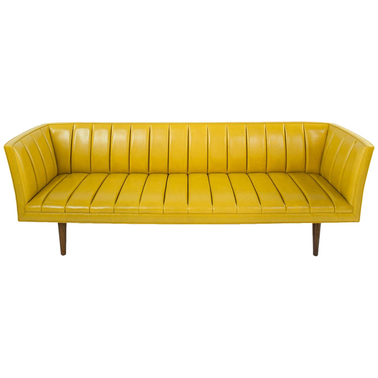 Famechon Sofa with Channeled Back and Seat, Walnut Legs, Yellow Leather