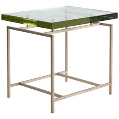 Frazier Side Table with Thick Borosilicate Glass Top and Silicon Bronze Base