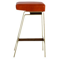 Gavilan Barstool, Solid Brass Base with Walnut Details and Orange Leather