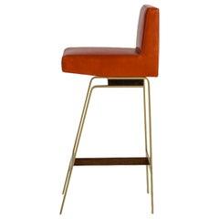 Gavilan Barstool with Back, Brass Base, Walnut Details, Orange Leather, COM/COL