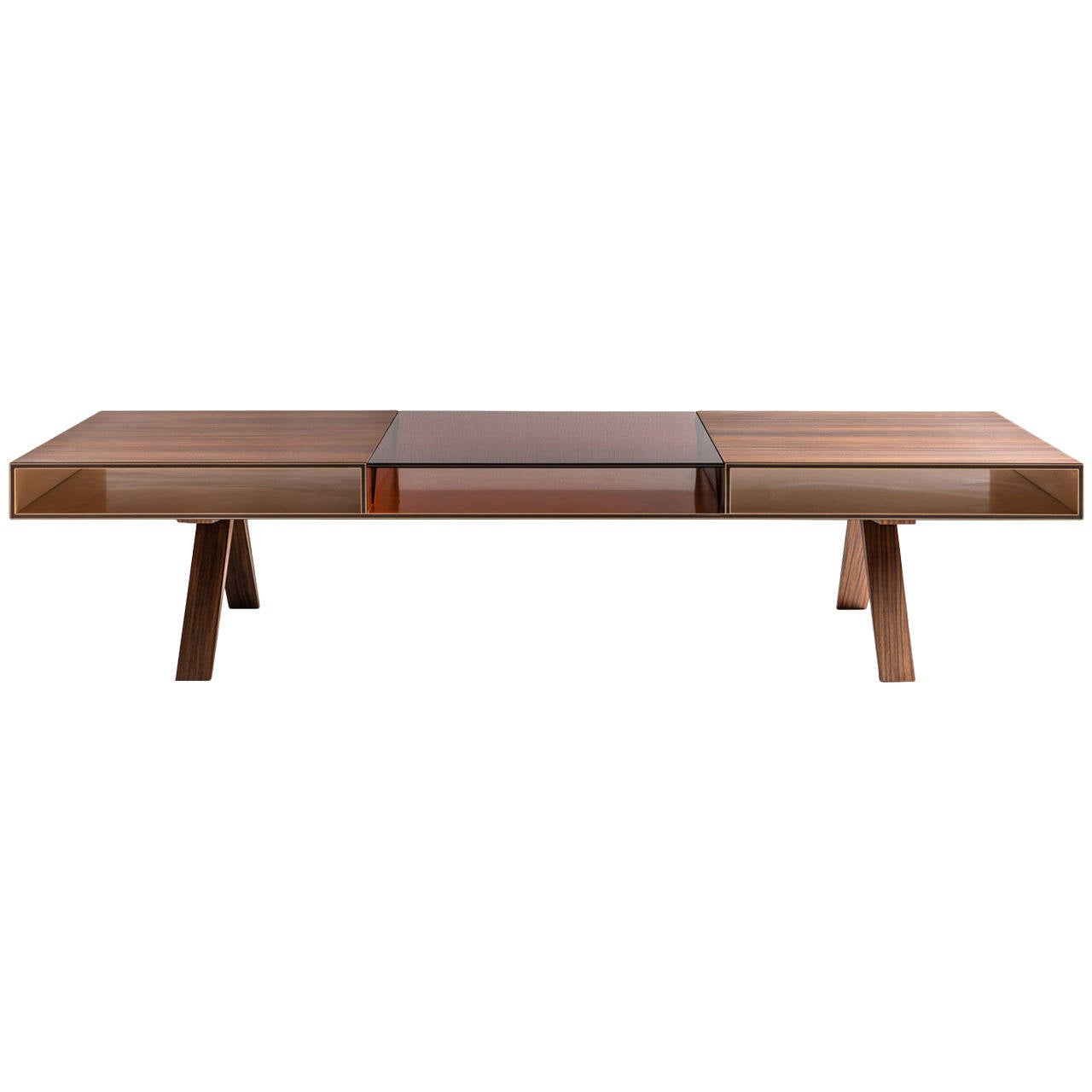 Gilroy Coffee Table With Rosewood And Colored Italian Glass Top Bronze Interior For Sale At 1stdibs