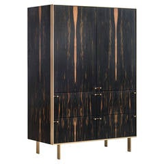 Ingemar Cabinet - Tall (or Dining Hutch or High Boy) in African Ebony and Bronze