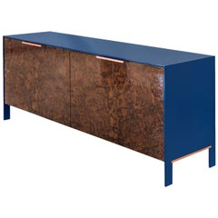 Johansson Cabinet or Sideboard with Lacquered Aluminum, Walnut Burl, Copper