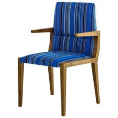 Julian Dining Chair with Fumed White Oak Base and Blue Wool Stipe Seat