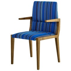 Julian Dining Chair, Fumed White Oak Base and Blue Wool Stripe Seat, COM or COL