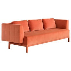 Liston Sofa with Quilted Back and Sides in Orange French Velvet