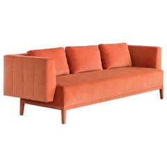 Liston Sofa with Quilted Back and Sides in Orange French Velvet, COM or COL
