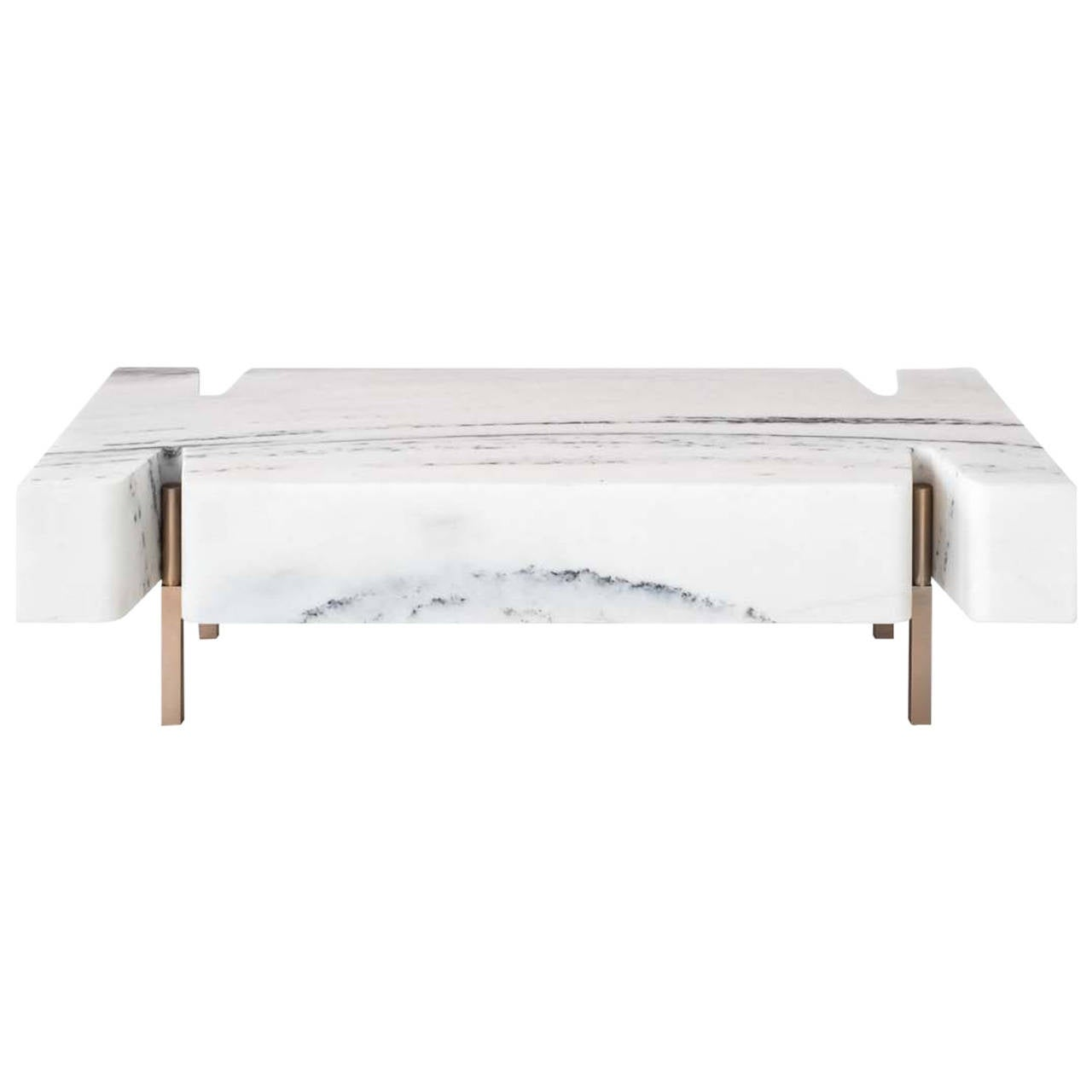 Terranova Coffee Table Or Cocktail Table With Hewn Marble Top And Bronze Base For Sale At 1stdibs