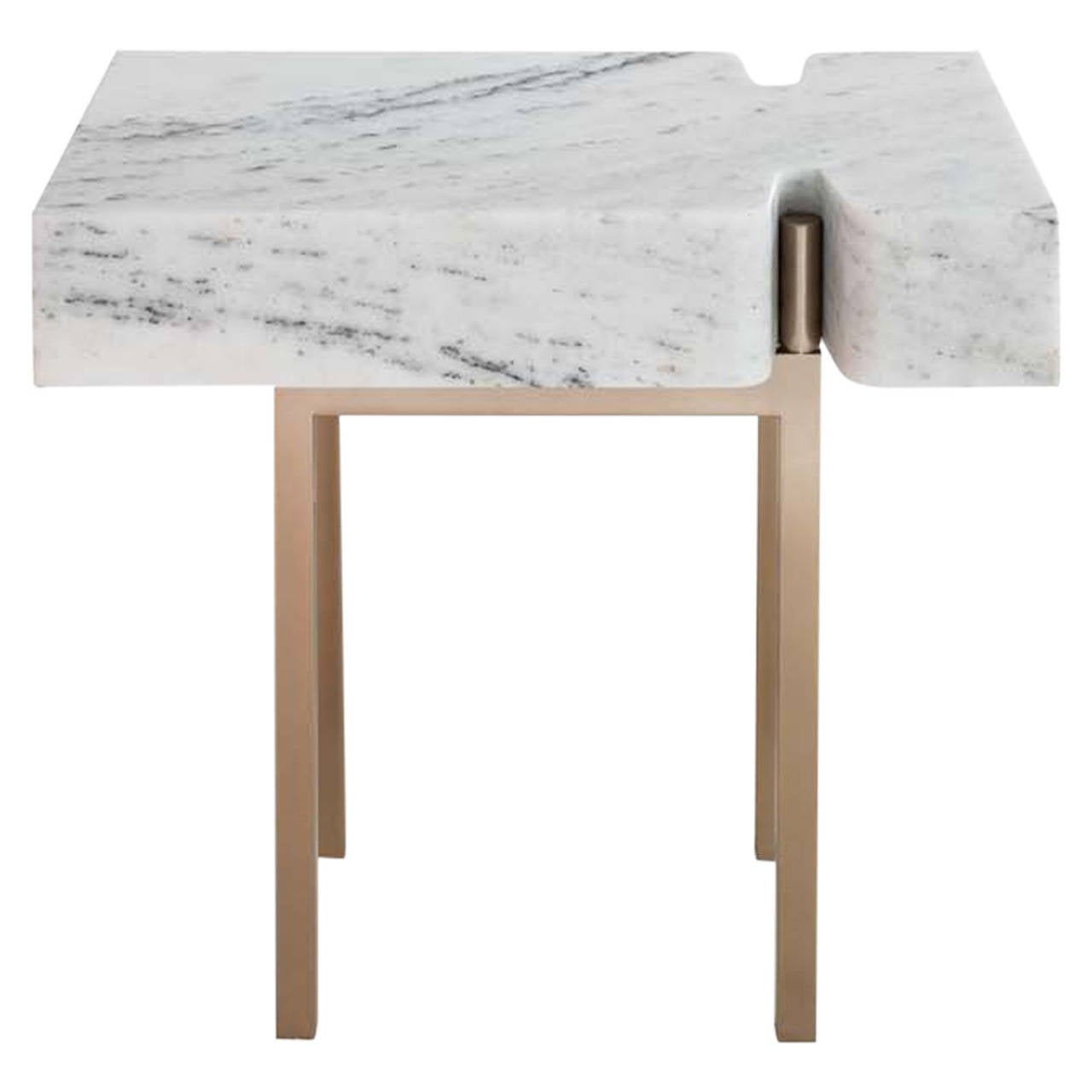 Terranova side table or end table with hewn marble top and bronze base for sale
