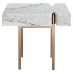 Terranova Side Table or End Table with Hewn Marble Top and Bronze Base