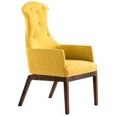 Evander Chair or Armchair in Yellow Cotton Linen Weave with a Walnut Base