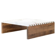 Zaragosa Coffee Table, Calacatta Marble with Walnut Sides and Box Joint Detail
