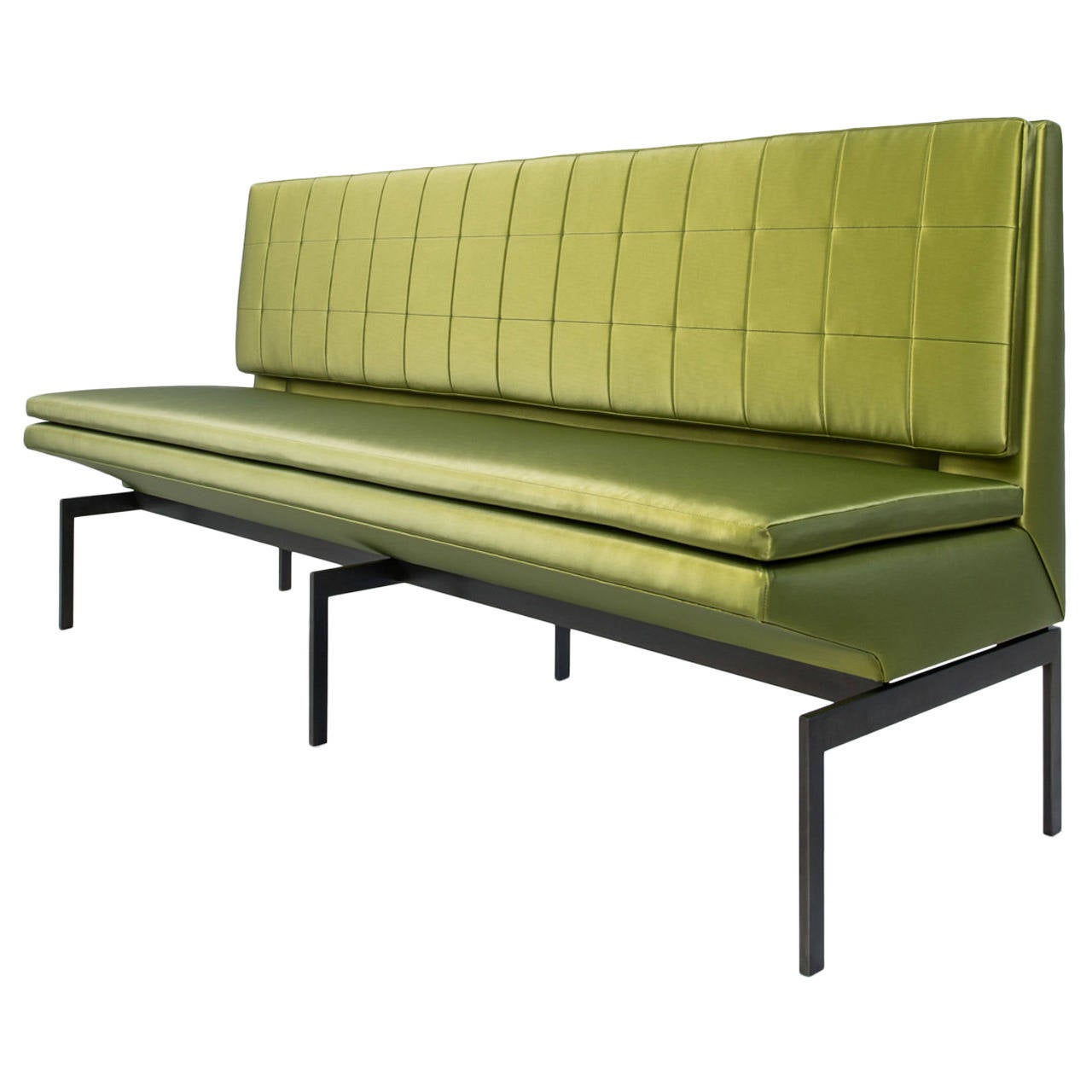 Mancini Banquette, Quilted Green Satin Back, Blackened Steel Base