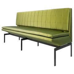 Mancini Banquette, Quilted Green Satin Back, Blackened Steel Base, COM or COL
