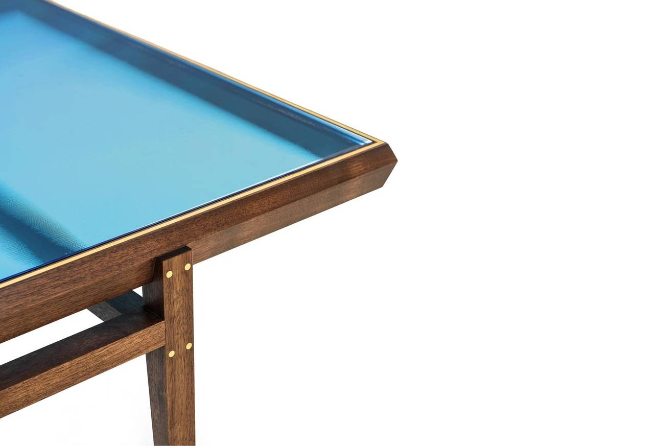 Chamfered Pintor Coffee Table, Walnut Frame with Brass Inlay, Blue Glass Top For Sale