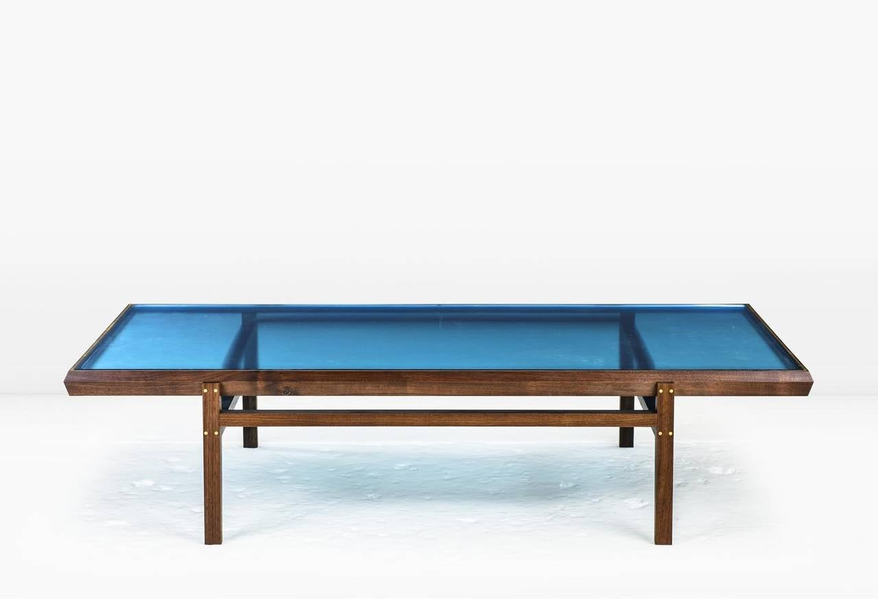 pintor coffee table walnut frame with brass inlay blue With blue glass top coffee table