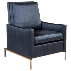 Larkin Armchair with Blue Silk Cotton Strié, Silicon Bronze and Teak Base