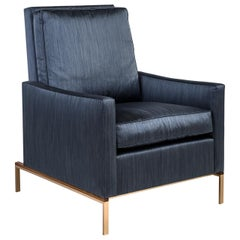 Larkin Armchair with Blue Silk Cotton Strié, Silicon Bronze & Teak Base COM/COL