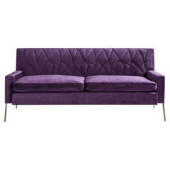 Mayweather Settee 2.0 with Tufted Back in Violet Linen Velvet and Nickel Legs