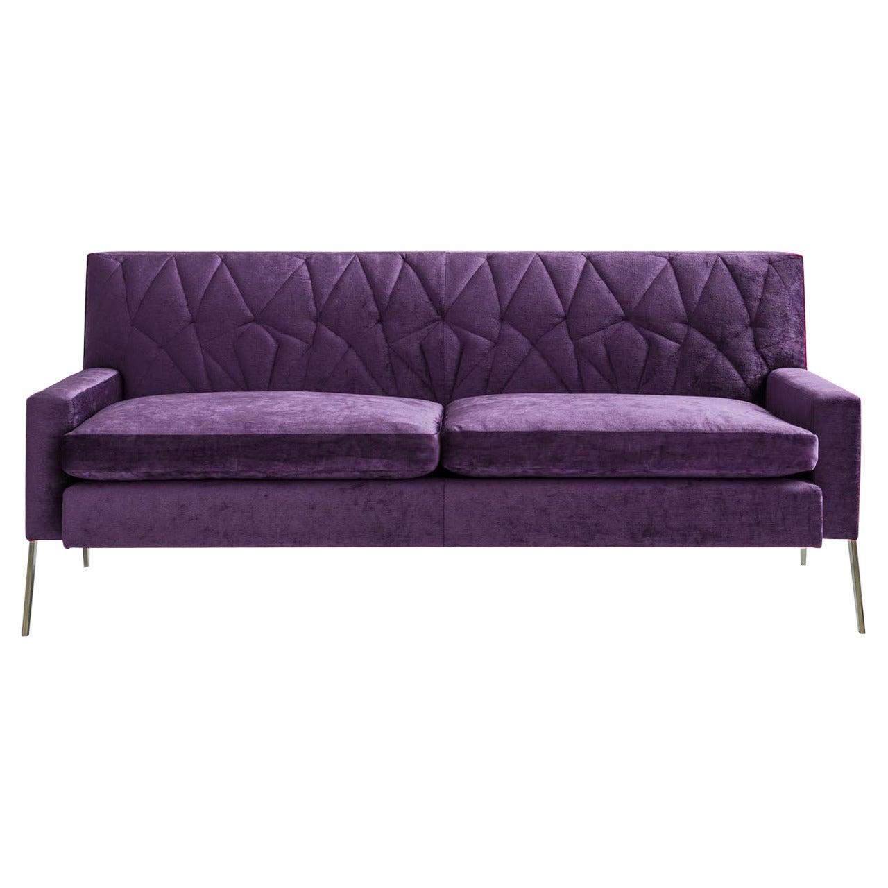 Mayweather Settee 2.0, Tufted Back in Violet Linen Velvet & Nickel Legs COM