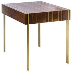 Ellis Side Table in Solid Black Walnut with Solid Brass Inlay Legs