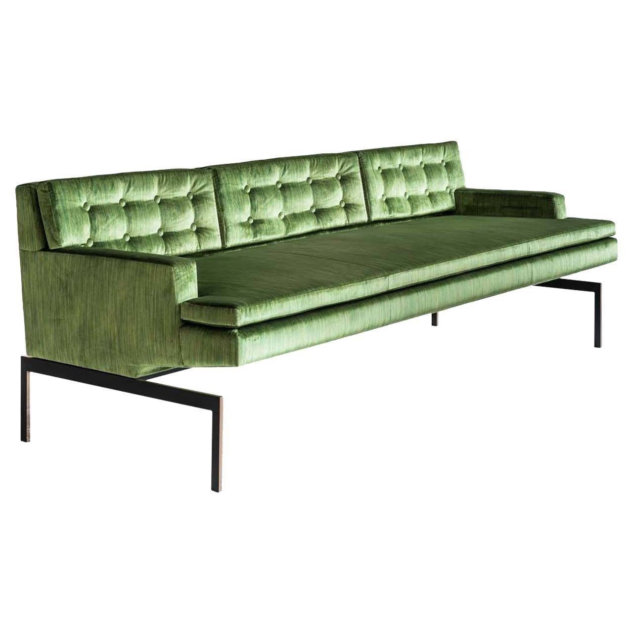 Mancini Sofa with Tufted Back in Green Velvet and Silicon Bronze Base