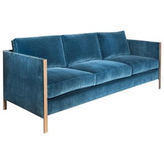 Armstrong Sofa with Blue Cotton Velvet and Brass Frame