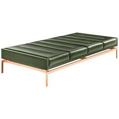 Olivera Chaise Longue / Daybed / Bench with Green Leather and Bronze Base
