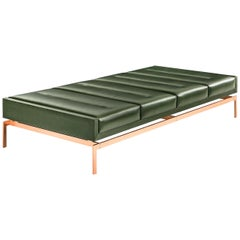 Olivera Chaise Longue / Daybed / Bench with Green Leather & Bronze Base COM/COL