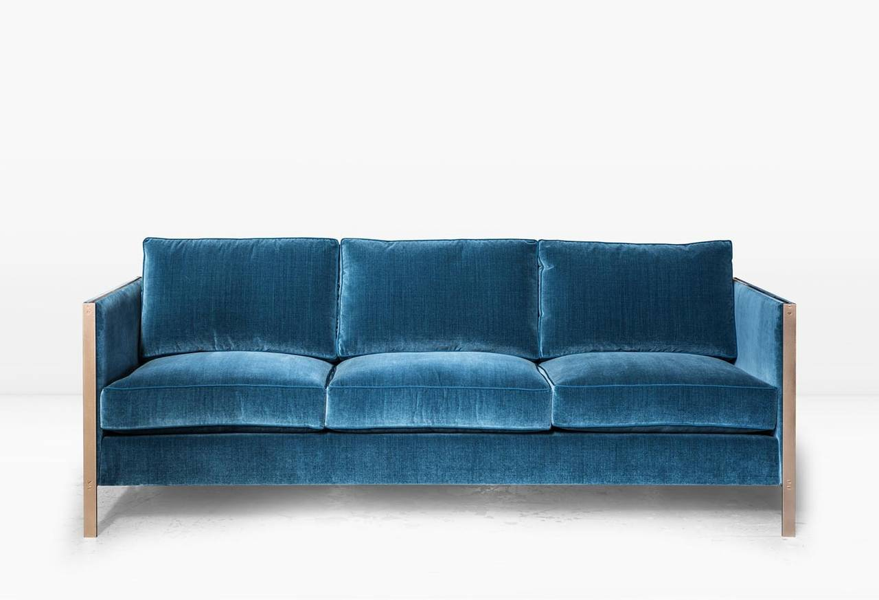 Armstrong sofa with blue cotton velvet and brass frame for for Blue couches for sale